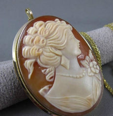 ANTIQUE LARGE 14KT YELLOW GOLD 3D LADY CAMEO HANDCRAFTED PIN PENDANT #24429