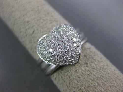 ANTIQUE WIDE .70CT DIAMOND 18KT WHITE GOLD 3D CLASSIC PAVE HEART FUN RING #14321