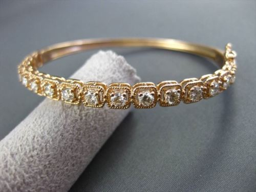 ANTIQUE WIDE 1.85CT DIAMOND 18KT ROSE GOLD CLASSIC FILIGREE BANGLE BRACELET F/G