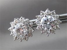 ESTATE .67CT ROUND DIAMOND 14KT WHITE GOLD 3D STAR FLOWER STUD EARRINGS 22224