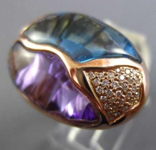 LARGE 12.40CT DIAMOND AAA BLUE TOPAZ & AMETHYST 14KT ROSE GOLD 3D FILIGREE RING