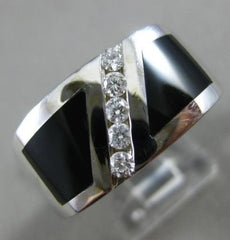 ESTATE WIDE .30CT DIAMOND & AAA ONYX 14KT WHITE GOLD 5 STONE DIAGONAL MENS RING