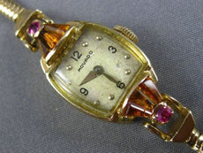 ANTIQUE 1.50CT AAA RUBY & CITRINE 14KT YELLOW GOLD 3D MOVADO LADIES WATCH #20698