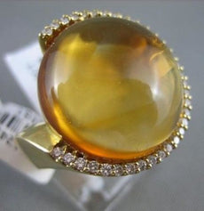 ANTIQUE LARGE 50.2CT DIAMOND & AAA CITRINE 18KT YELLOW GOLD ROUND FILIGREE RING