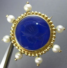 ESTATE LARGE AAA LAPIS & SOUTH SEA PEARL 14K YELLOW GOLD FILIGREE PENDANT BROOCH
