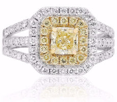ESTATE 1.76CT WHITE & FANCY YELLOW DIAMOND 18KT 2 TONE GOLD HALO ENGAGEMENT RING