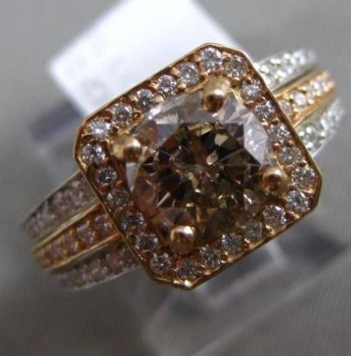 2.54CT WHITE & CHOCOLATE FANCY DIAMOND 18KT WHITE & ROSE GOLD 3D ENGAGEMENT RING
