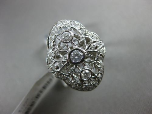 ESTATE WIDE .54CT DIAMOND 14KT WHITE GOLD 3D OPEN FILIGREE MILGRAIN FLOWER RING