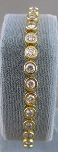 "ANTIQUE 4CTW DIAMOND 14K YLW GOLD BEZEL TENNIS BRACELET 5MM WIDE 7"" INCH #17230"