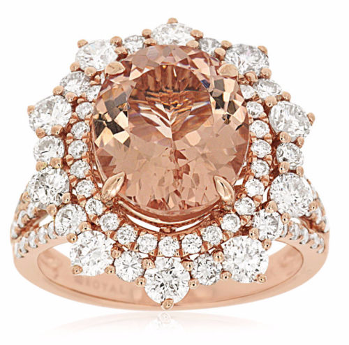 LARGE 6.0CT DIAMOND & AAA MORGANITE 14KT ROSE GOLD OVAL FLOWER ENGAGEMENT RING
