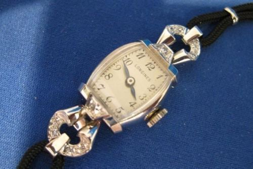 ANTIQUE OLD MINE DIAMOND 14KT WHITE GOLD LONGINES WATCH SWISS MECHANICAL #19574