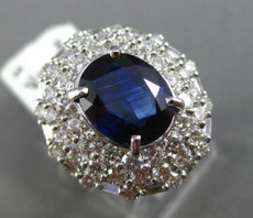 ESTATE LARGE 7.46CT DIAMOND & SAPPHIRE 18KT WHITE GOLD TRIPLE HALO COCKTAIL RING