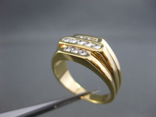 ESTATE WIDE .60CT DIAMOND 14KT YELLOW GOLD 3 ROW MENS GYPSY RING AMAZING! #21524