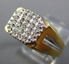 ESTATE WIDE .30CT DIAMOND 14KT WHITE & YELLOW GOLD 3D PAVE CLASSIC MENS RING