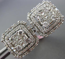 LARGE 2.40CT ROUND BAGUETTE & PRINCESS DIAMOND 18KT WHITE GOLD 3D STUD EARRINGS