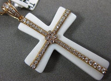 ESTATE LARGE 6.50CT DIAMOND & AAA WHITE AGATE 18KT ROSE GOLD 3D CROSS PENDANT