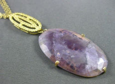 ESTATE LARGE .45CT YELLOW TOPAZ & AMETHYST 18KT YELLOW GOLD LARIAT NECKLACE