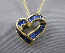 ESTATE 1.20CT SAPPHIRE HEART JOURNEY 18K YELLOW GOLD CHANNEL PENDANT CHAIN 21380