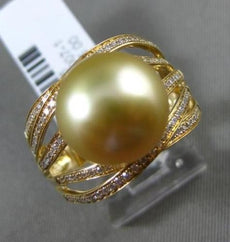ESTATE LARGE .50CT DIAMOND 14K YELLOW GOLD GOLDEN SOUTH SEA PEARL MULTI ROW RING