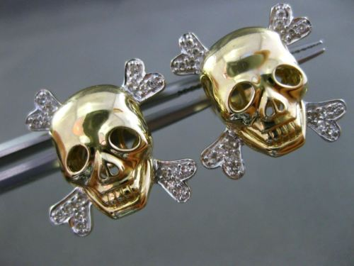 ESTATE .20CT DIAMOND 14K WHITE YELLOW GOLD PIRATE SKULL SCREW BACK STUD EARRINGS