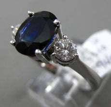 ESTATE 2.85CT DIAMOND & SAPPHIRE 14KT WHITE GOLD 3 STONE CLASSIC ENGAGEMENT RING