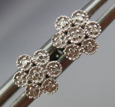 ESTATE SMALL .05CT DIAMOND 14K WHITE GOLD FILIGREE MILGRAIN FLOWER STUD EARRINGS