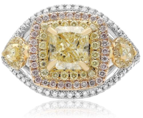 2.50CT WHITE PINK & FANCY YELLOW DIAMOND 18KT TRI COLOR GOLD 3D ENGAGEMENT RING