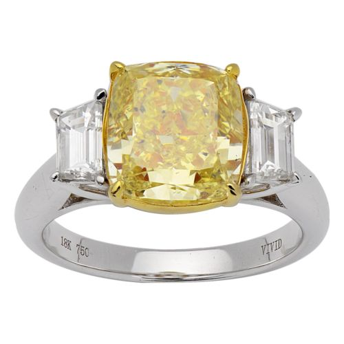 EXTRA LARGE 5.04CT WHITE & FANCY YELLOW DIAMOND 18KT 2 TONE GOLD ENGAGEMENT RING