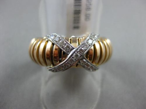 ESTATE WIDE .31CT DIAMOND 18KT WHITE & ROSE GOLD 3D FLEXIBLE SHINY X LOVE RING