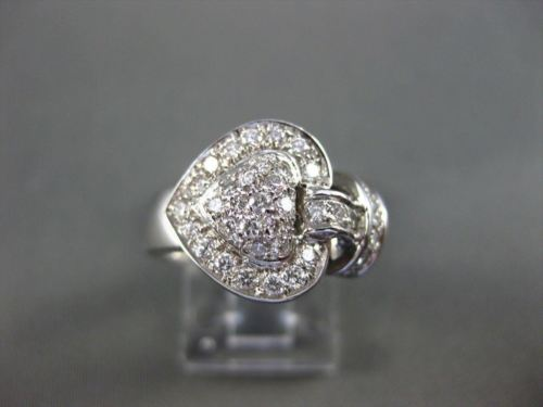 ANTIQUE LARGE .81CT DIAMOND HEART 3D 14KT WHITE GOLD RING SIMPLY BEAUTIFUL 16482