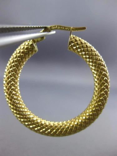 18KT YELLOW GOLD 3D CLASSIC MESH ITALIAN MATTE HOOP HANGING EARRINGS #25886