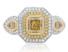 EGL CERTIFIED 2.1CT WHITE & FANCY YELLOW DIAMOND 18K 2 TONE GOLD ENGAGEMENT RING