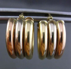 ESTATE WIDE 14KT WHITE YELLOW & ROSE GOLD CLASSIC CIRCULAR 3 ROW HOOP EARRINGS