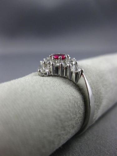 ESTATE LARGE .61CT DIAMOND & AAA RUBY 14KT WHITE GOLD CLASSIC SQUARE FLOWER RING
