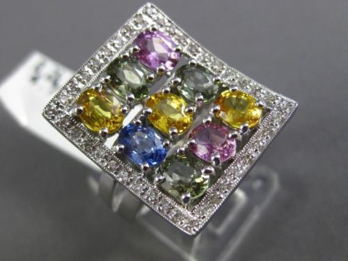 ESTATE LARGE 5.03CT DIAMOND & MULTI COLOR SAPPHIRE 14KT WHITE GOLD RAINBOW RING