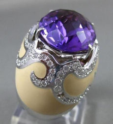ESTATE LARGE 15.95CT DIAMOND AMETHYST & ENAMEL 14KT WHITE GOLD 3D FILIGREE RING