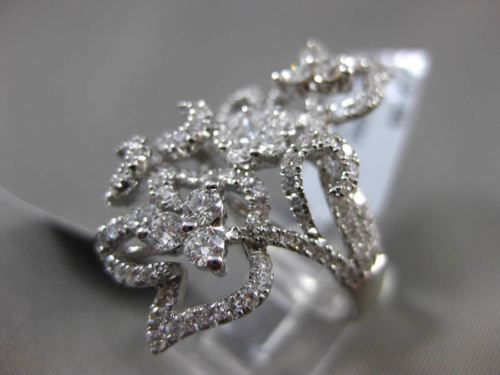 ANTIQUE MASSIVE 2.09CT DIAMOND 18KT WHITE GOLD THREE DIMENSIONAL FLOWER RING