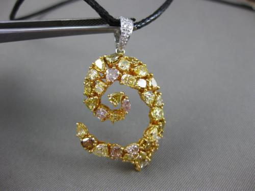 GIA LARGE 3.64CT WHITE & FANCY YELLOW DIAMOND 18KT YELLOW GOLD 3D SNAKE PENDANT