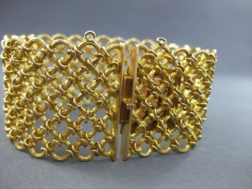 ANTIQUE 33MM WIDE 18K YELLOW GOLD HAND CRAFTED SOLID BRACELET ONE OF A KIND#1557