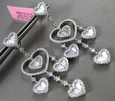 LARGE 3.48CT ROUND & BAGUETTE DIAMOND 18KT WHITE GOLD HEART CHANDELIER EARRINGS