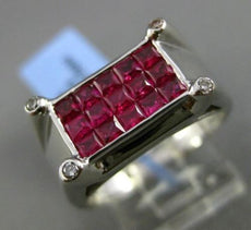 ESTATE WIDE 1.88CT DIAMOND & RUBY 18KT WHITE GOLD ETOILE RECTANGULAR MENS RING