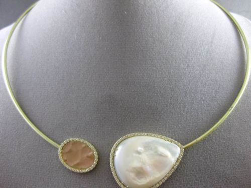ESTATE 1.05CT DIAMOND 14KT YELLOW GOLD HAMMERED MOTHER OF PEARL CHOKER NECKLACE
