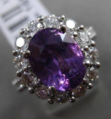 ESTATE LARGE 5.38CT DIAMOND & LAVENDER SAPPHIRE 18KT WHITE GOLD ENGAGEMENT RING