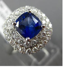 ESTATE WIDE 2.54CT DIAMOND & SAPPHIRE 18K WHITE GOLD DOUBLE HALO ENGAGEMENT RING