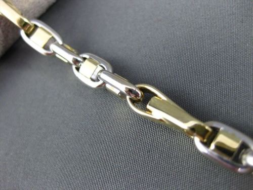 ESTATE WIDE 14KT WHITE & YELLOW GOLD 3D SOLID HANDCRAFTED ITALIAN BRACELET 22788