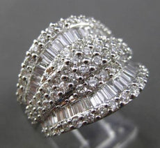 ESTATE LARGE 2.0CT BAGUETTE & ROUND DIAMOND 14KT WHITE GOLD 3D COCKTAIL RING