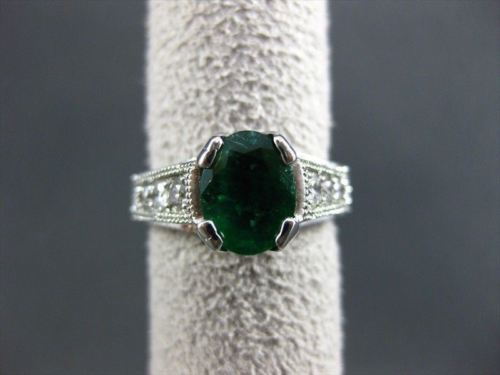 ESTATE 2.18CT DIAMOND & AAA COLOMBIAN EMERALD 14KT WHITE GOLD 3D ENGAGEMENT RING