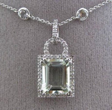 ESTATE 5.66CT DIAMOND & GREEN AMETHYST 14KT WHITE GOLD HALO BY THE YARD NECKLACE
