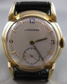 ANTIQUE LONGINES SWISS MECHANICAL 14KT YELLOW GOLD MENS WATCH 17 JEWELS #21153
