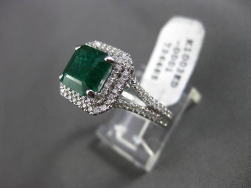 ESTATE 3.27CT DIAMOND & EMERALD 18K WHITE GOLD DOUBLE BAND HALO ENGAGEMENT RING